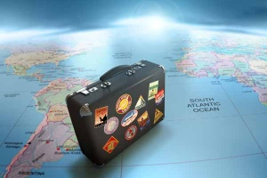 World Map & Suitcase
