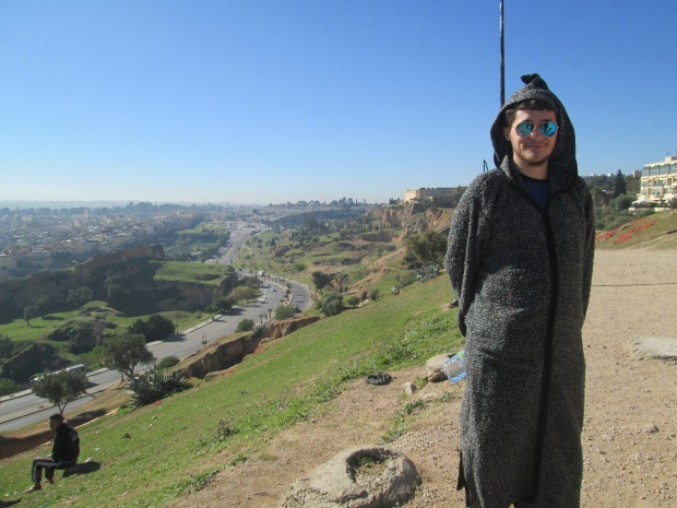 Here's Biggie rocking his new $5 djellaba. He bought it at this ruins place in Fez.